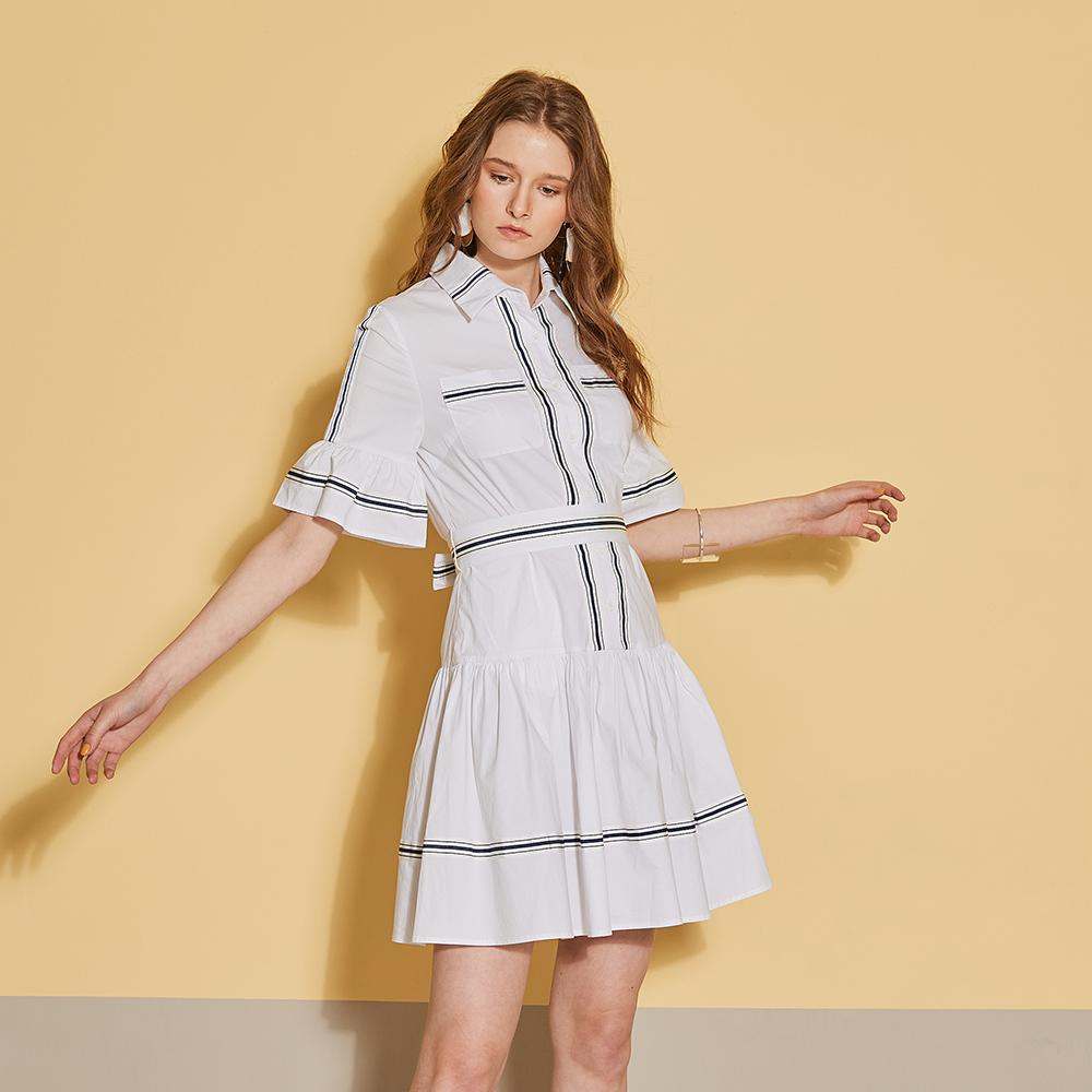 ICHE 衣哲 時尚荷葉拼接撞色勾勒造型襯衫洋裝-質感白