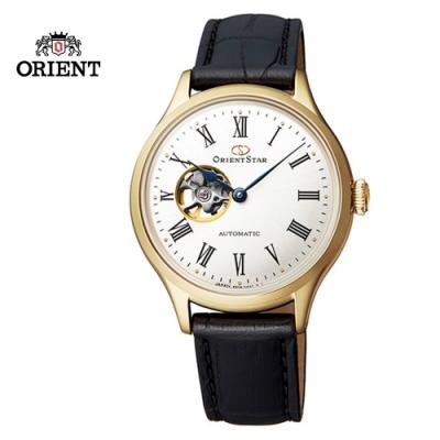 ORIENT STAR 東方之星 CLASSIC 系列 經典鏤空機械錶 皮帶款 金色-30.5mm