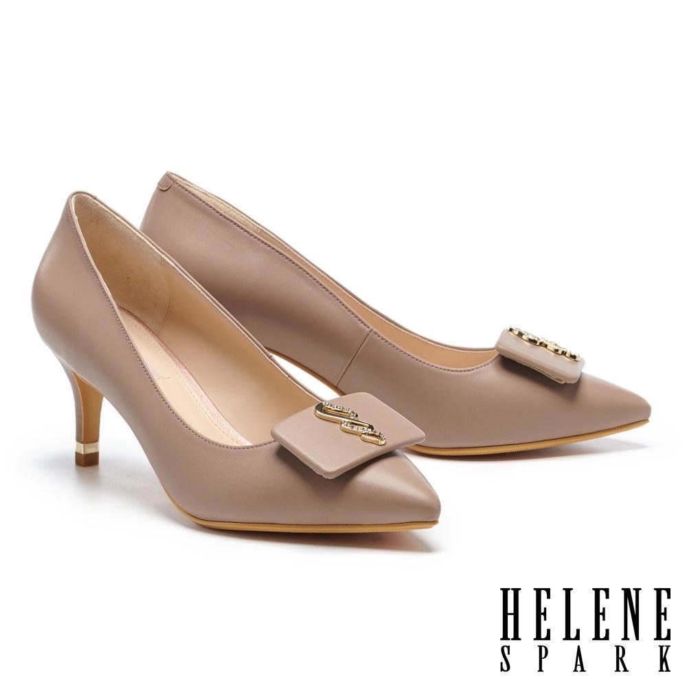 高跟鞋 HELENE SPARK 沉穩典雅晶鑽幾何金屬釦尖頭高跟鞋-紫