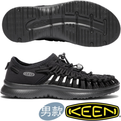 KEEN 1018709黑 Uneek O2 男戶外護趾編織涼鞋/繩編鞋