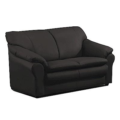 綠活居 艾森時尚黑半牛皮革二人座沙發-152x88x86cm-免組