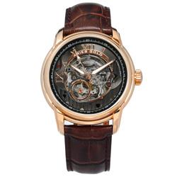 ARIES GOLD 自動上鍊 鏤空錶盤 真皮機械錶-灰x玫瑰金框x咖啡/43mm