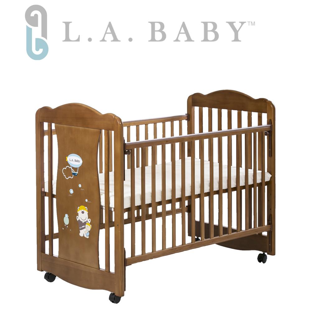 【美國 L.A. Baby】奧蘭多嬰兒搖擺大床/原木床/童床(淺咖啡色)