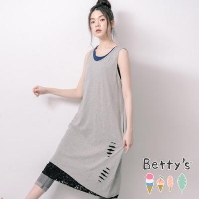 betty's貝蒂思 微抓破拼接蕾絲無袖洋裝(灰色)