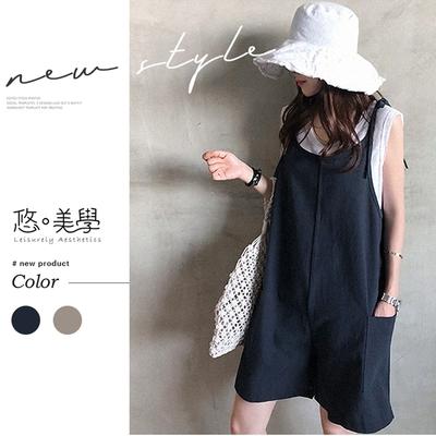悠美學-日系簡約圓領2件式短褲造型套裝-2色(F)