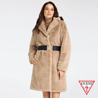 GUESS-女裝-翻領絨毛大衣外套-杏