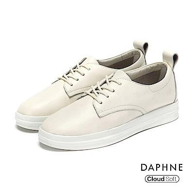 達芙妮DAPHNE 休閒鞋-綁帶拼接厚底真皮休閒鞋-白