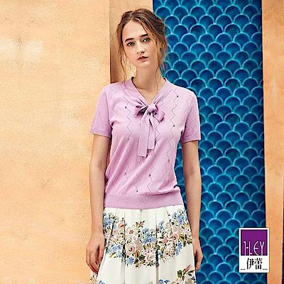 ILEY伊蕾 縷空幾何織紋針織上衣(白/紫)