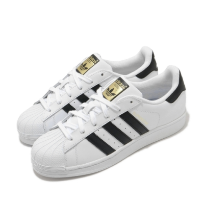 adidas 休閒鞋 Superstar 復古 低筒 女鞋 海外限定 愛迪達 三葉草 貝殼頭 皮革 白 黑 C77154