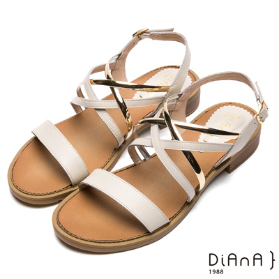 DIANA交織金屬鞋帶一字羅馬涼鞋- 異國尤物-米