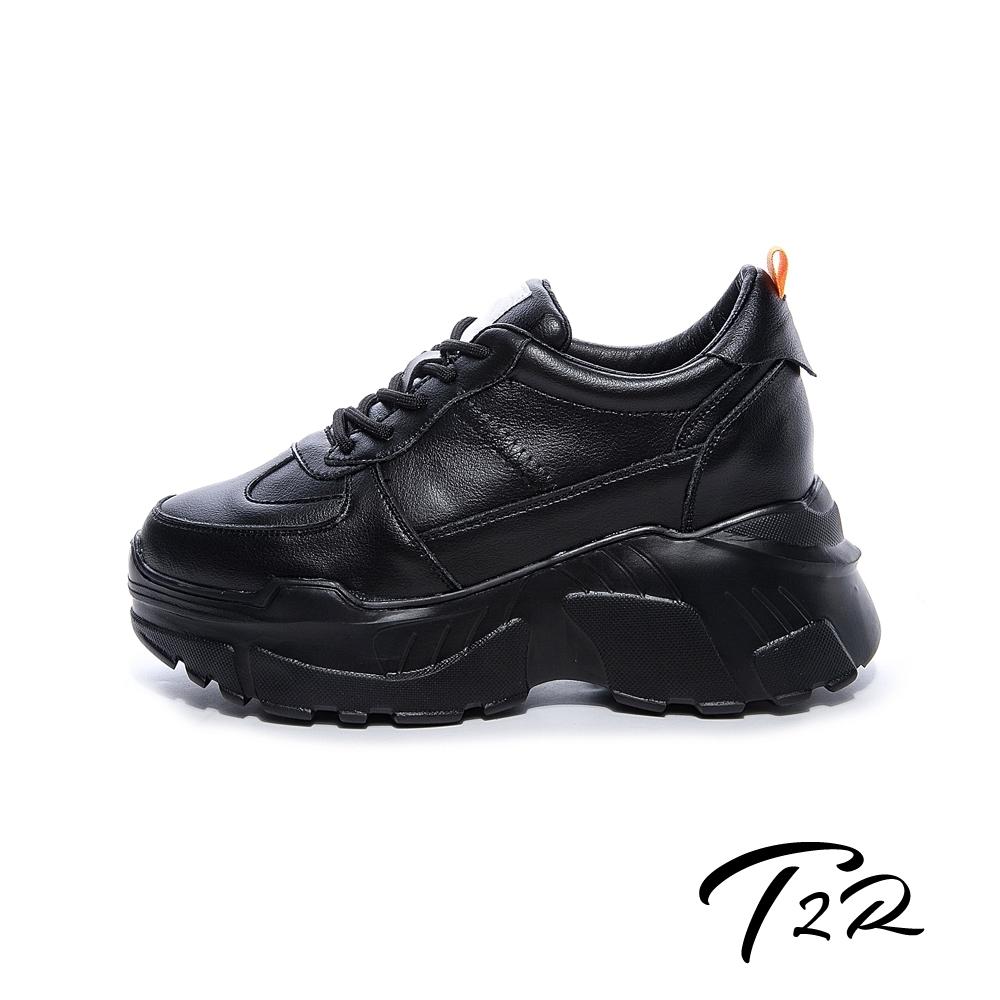 T2R-正韓空運-全真皮牛皮隱形內增高厚底老爹鞋-增高8公分-黑