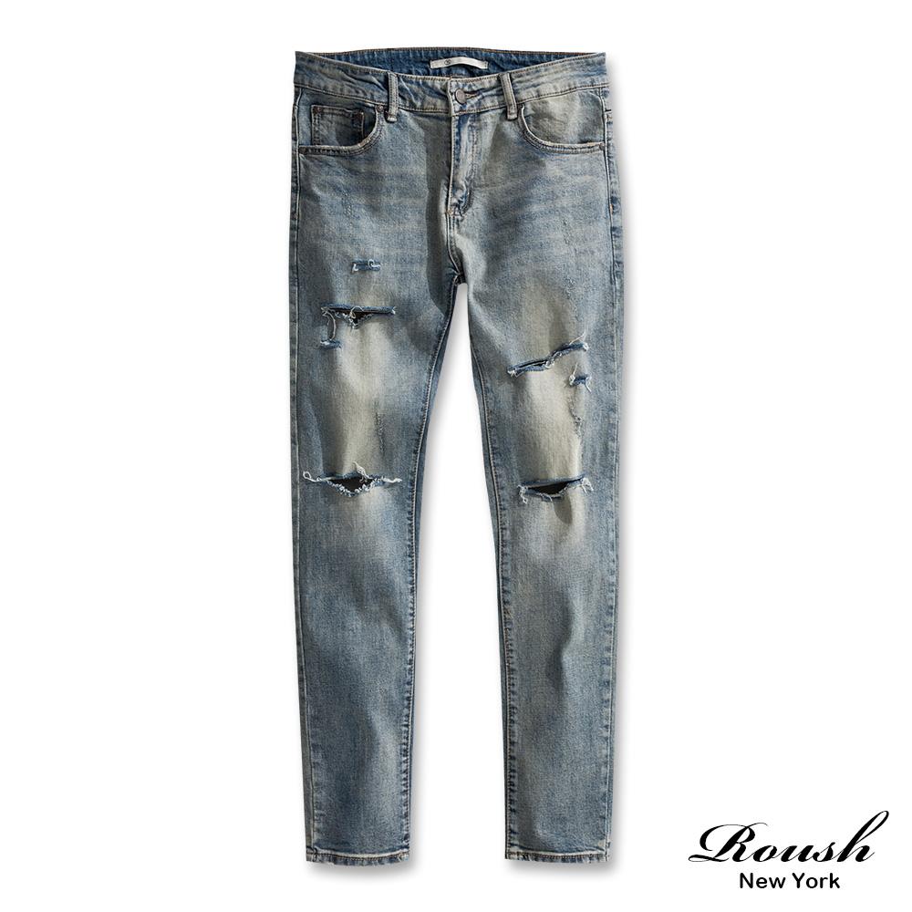 ROUSH 刀割破壞藍色水洗牛仔褲