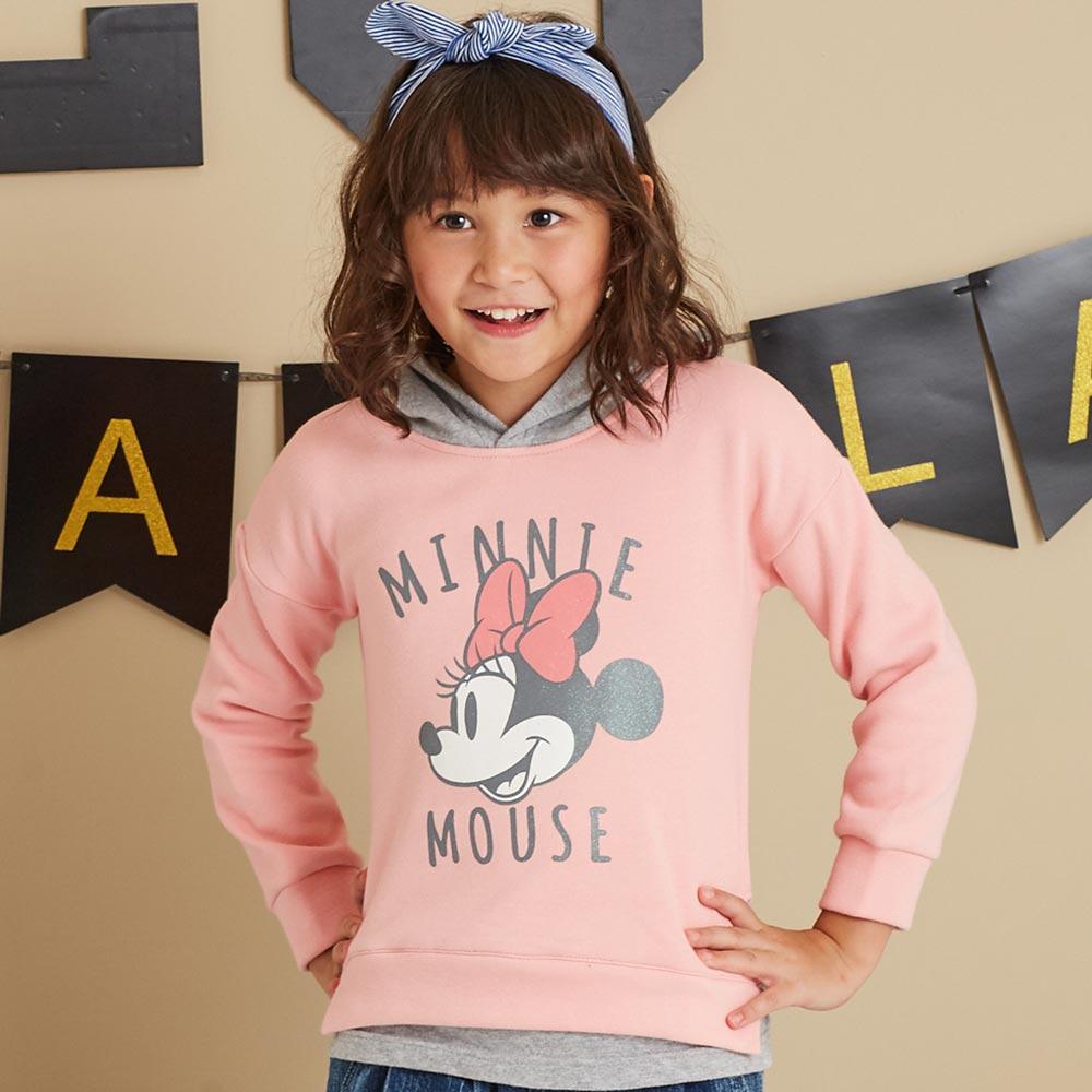Disney 米妮系列米妮假二件式刷毛連帽上衣(共2色)