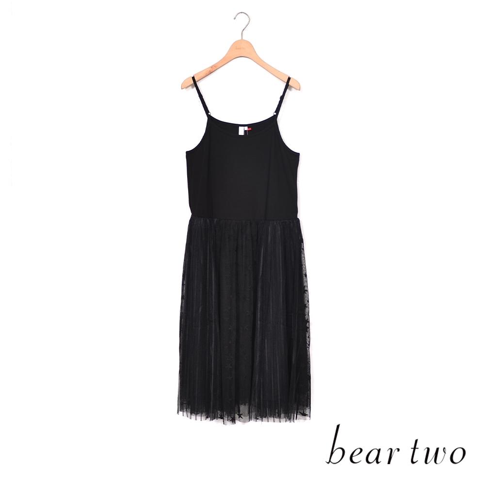 beartwo- 星星網紗細肩帶洋裝-黑