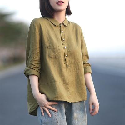【KISSDIAMOND】隨性風亞麻翻領襯衫上衣(輕熟女/簡約風/KDT-8001)