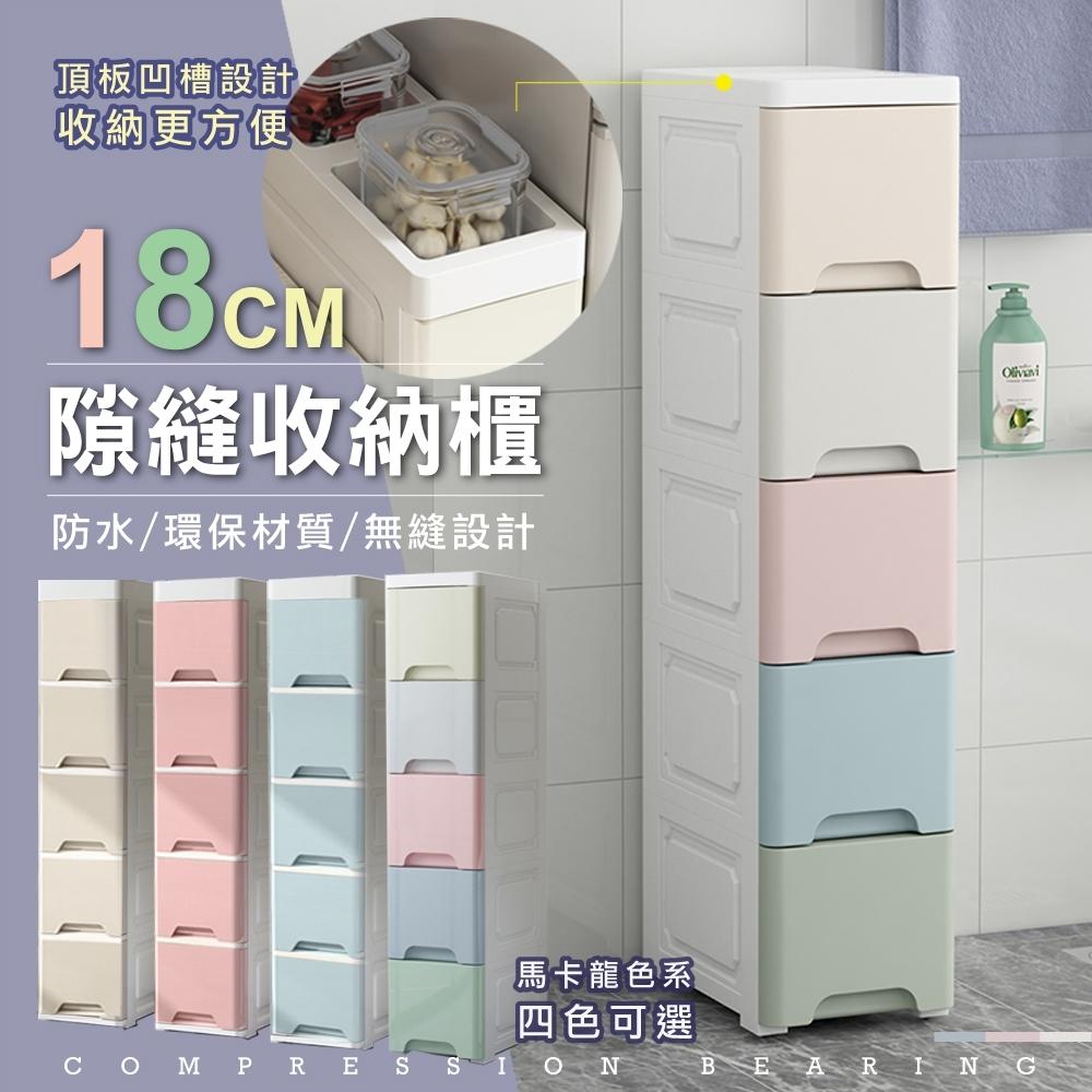 【日居良品】升級款頂板收納槽-18面寬五層密封收納隙縫櫃-家居萬用收納車/夾縫收納