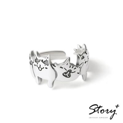 STORY故事銀飾-貓小姐系列-喜歡在一起純銀貓戒指