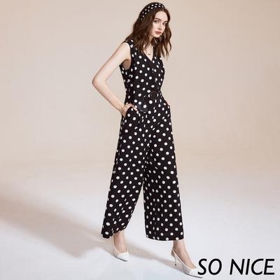 SO NICE復古波點造型連身寬褲