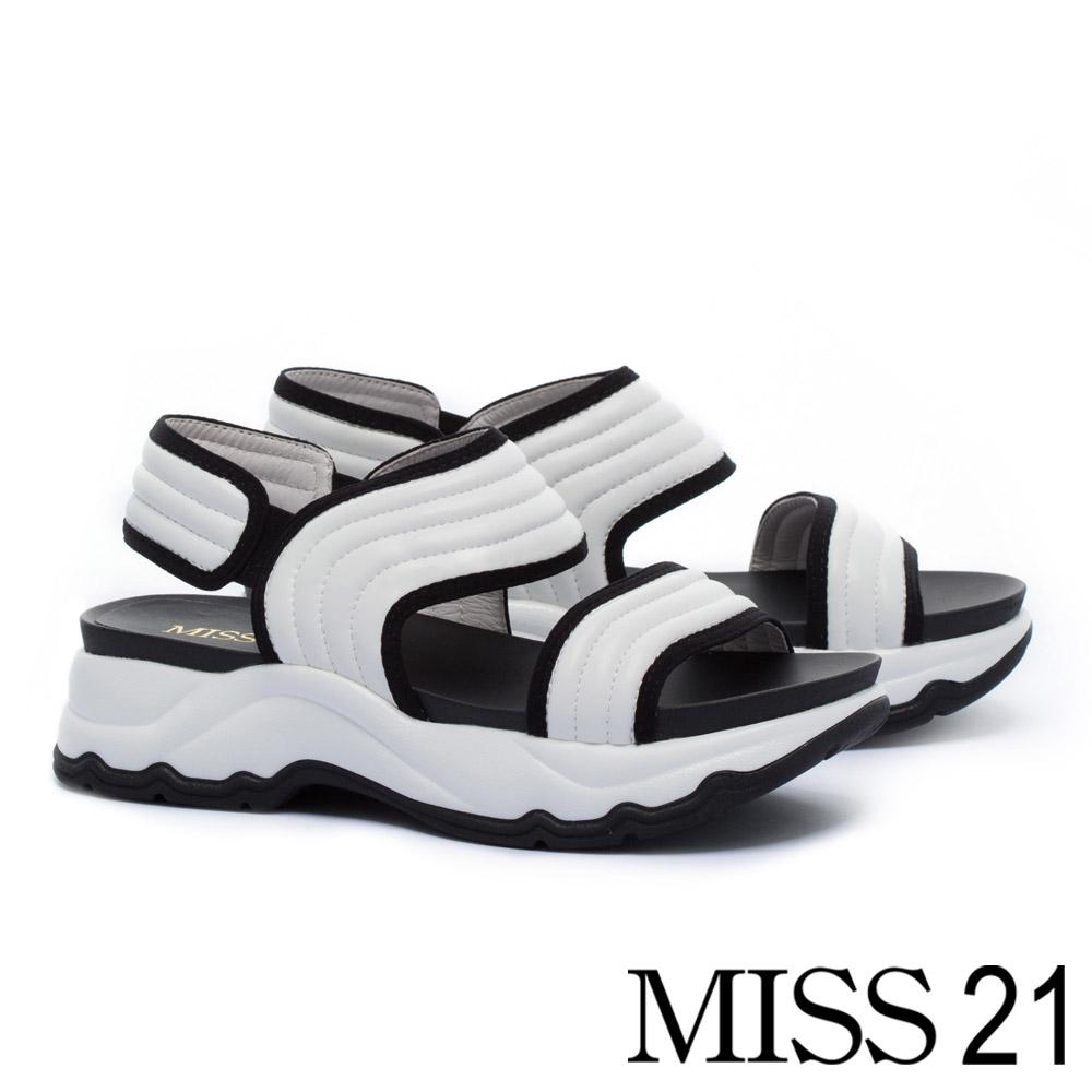 涼鞋 MISS 21 簡約帥感寬版皮革繫帶厚底涼鞋-白