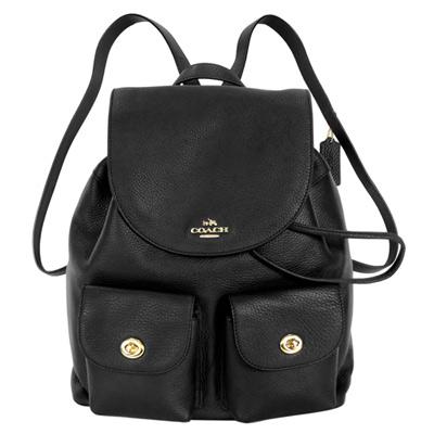 COACH黑色荔枝紋全皮旋釦雙口袋大款後背包
