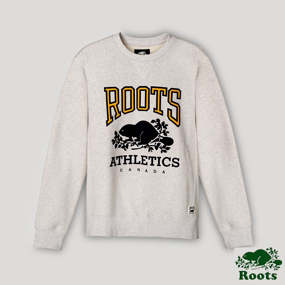 Roots男裝- RBA 原創翻玩系列 經典LOGO毛圈布圓領上衣-灰色