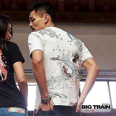 BIG TRAIN 加大水月金魚圓領短袖男T-男-白色