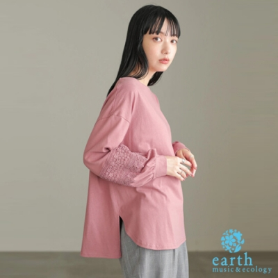 earth music 袖蕾絲拼接圓領蓬袖上衣