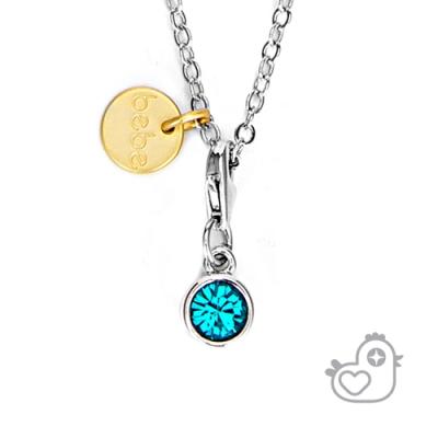 【彩糖鑽工坊】彩糖貝貝  湖水藍水晶項鍊  親子 閨蜜 繽紛寶石系列