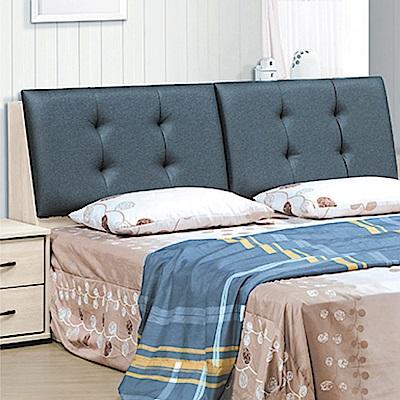 綠活居 伊瑟琳6尺皮革雙人加大床頭箱(不含床底)-182.3x29.1x99.1cm免組