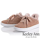 Keeley Ann 暖心冬季~暖暖毛茸鞋緣緞帶蝴蝶結休閒鞋(粉紅色-Ann)