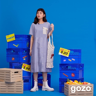 gozo-異材質拼接口袋洋裝