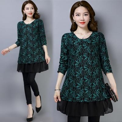 【韓國K.W.】(預購)雪紡印花氣質蕾絲長袖短洋裝-2色