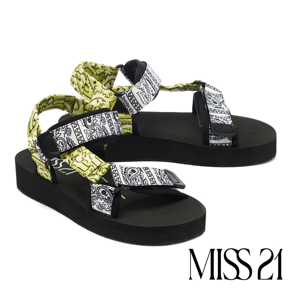 涼鞋 MISS 21 率性休閒印花布料魔鬼氈厚底涼鞋-白