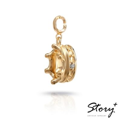 STORY故事銀飾-X mas系列-Elsa天然鑽石 扣扣墜飾(黃K金款)