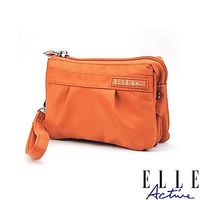 ELLE Active 優雅隨行系列-多夾層零錢包/手腕包/手拿包-橘色
