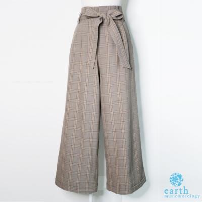 earth music 格紋綁帶高腰褲