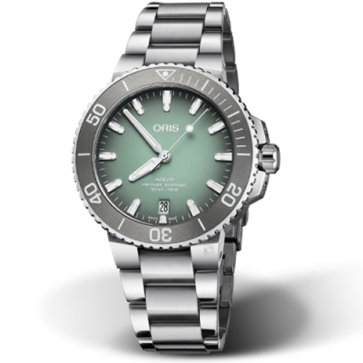 Oris豪利時Aquis時間之海300米潛水錶-39.5mm/薄荷灰