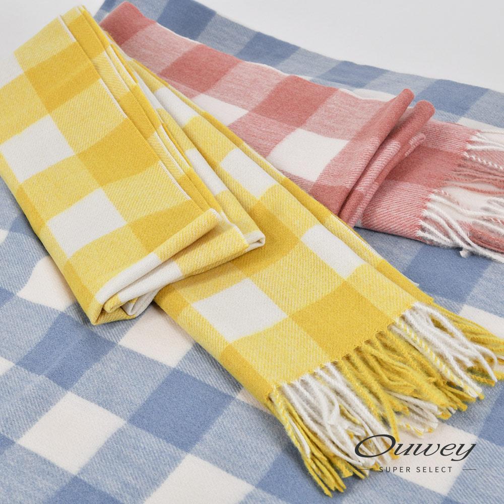 OUWEY歐薇 格紋雙色圍巾(粉/藍/黃)