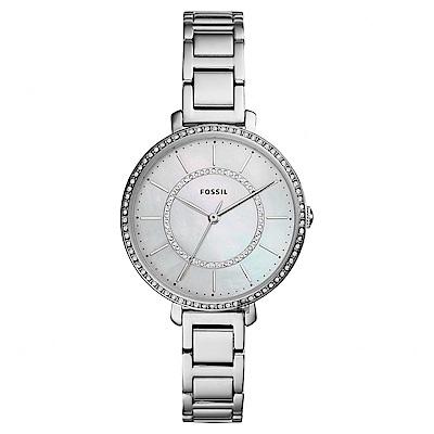 FOSSIL Jacqueline 愛在晶鑽時尚女錶-珍珠貝x銀/36mm