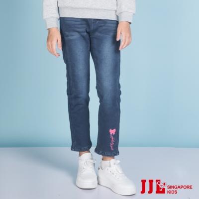 JJLKIDS  口袋立體蝴蝶結內刷毛牛仔褲(淺牛仔藍)