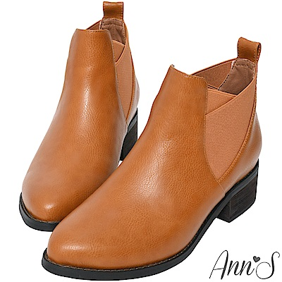 Ann'S英倫切爾西顯瘦交叉鬆緊帶粗跟短靴-棕