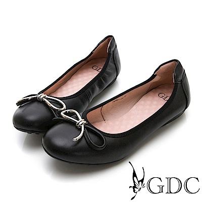 GDC-真皮基本款蝴蝶結圓頭鬆緊平底舒飾包鞋-黑色