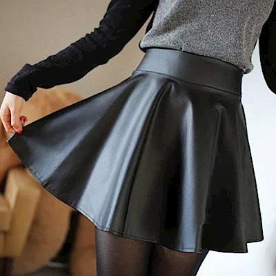 La Belleza黑色腰圍鬆緊PU皮質波浪皮裙短裙(防走光內裡)