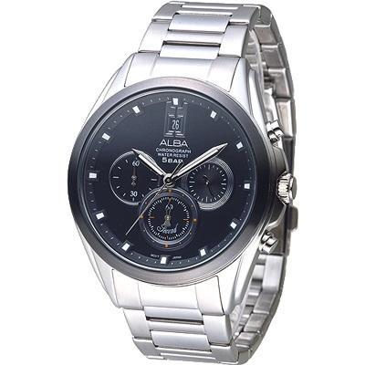 ALBA 都市新紀元三眼計時男錶-IP黑錶框(AT3A95X1)/37mm