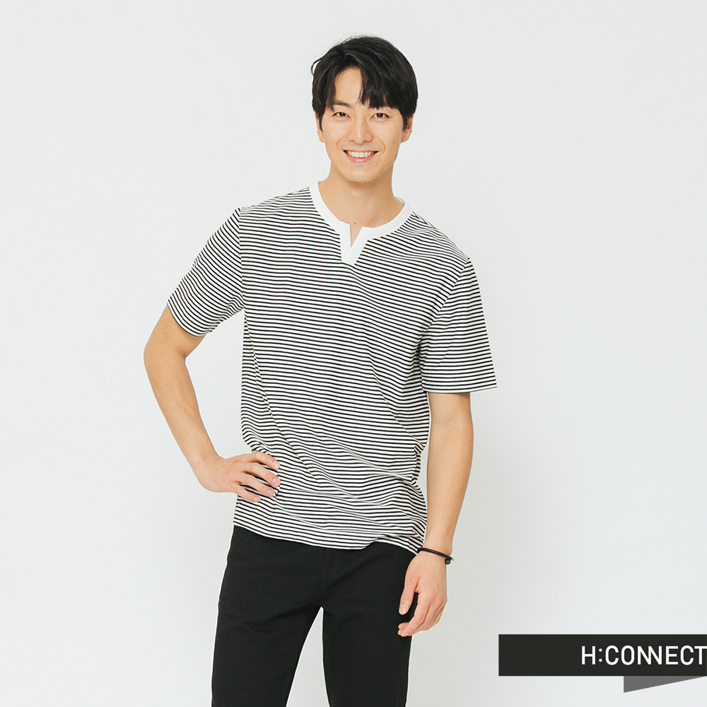 H:CONNECT 韓國品牌 男裝-領口設計條紋T-shirt-灰