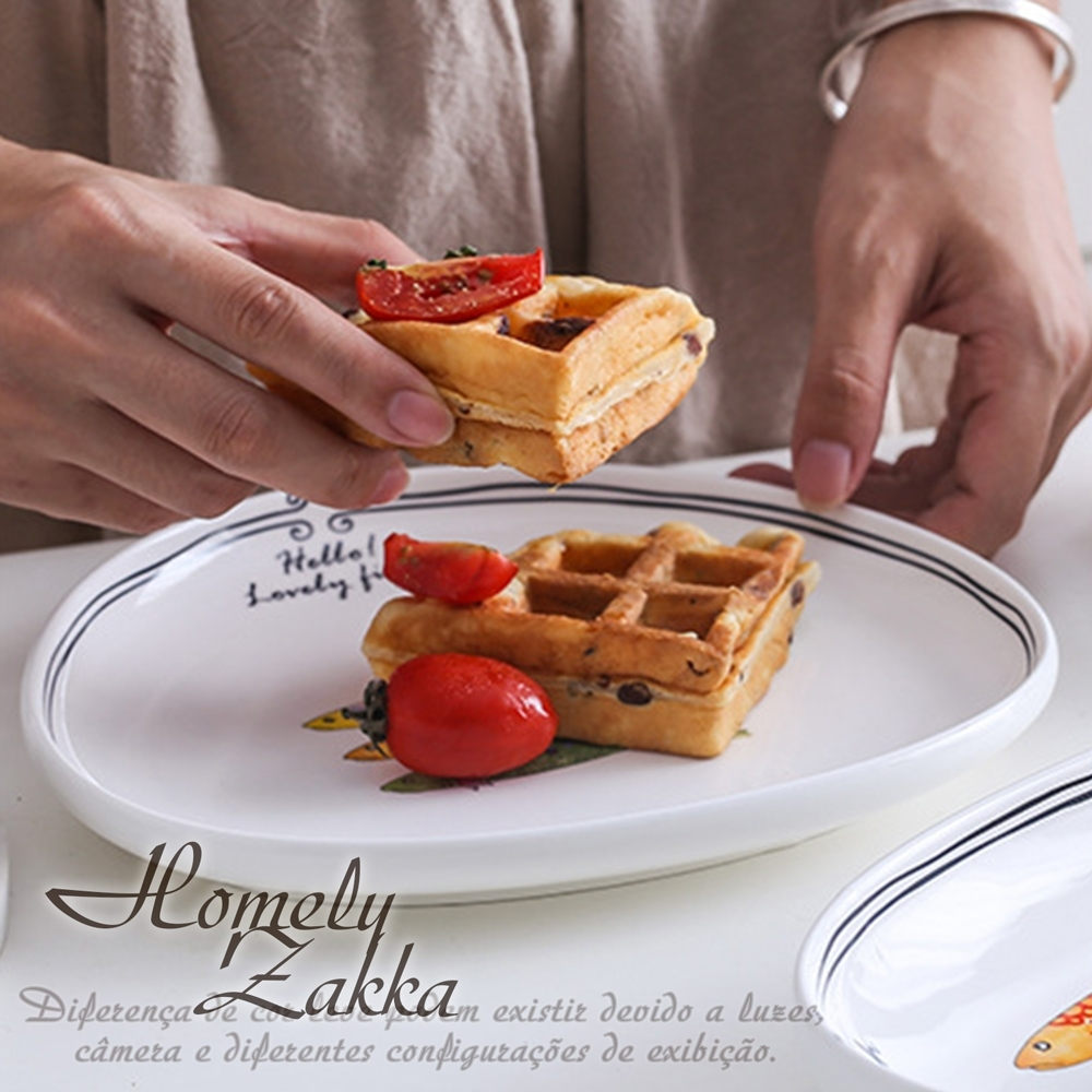 Homely Zakka 創意Lovely fish系列陶瓷餐具_8.5吋三角淺盤