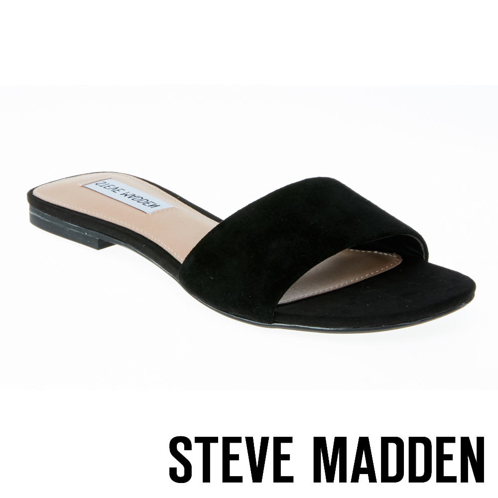 STEVE MADDEN BEVY 絨面一字低跟拖鞋-黑色