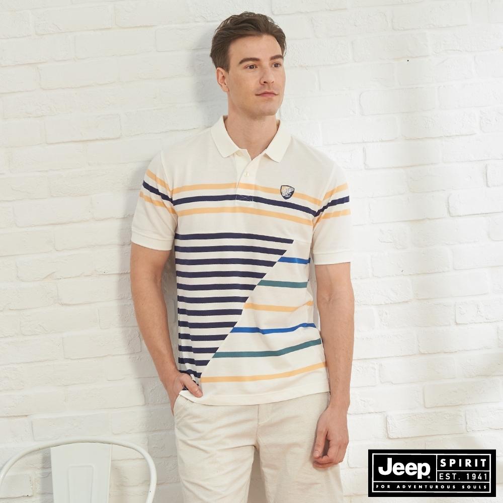 JEEP 男裝 條紋造型拼接短袖POLO衫-白