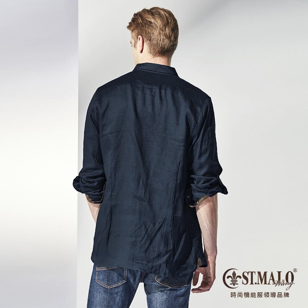 【ST.MALO】品格經典100%天然亞麻襯衫-1720MS-鳶尾藍