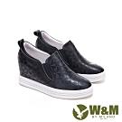 W&M 圓頭方格紋內增高鞋 厚底鞋 女鞋-黑(另有白)